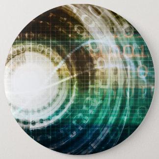 Futuristic Technology Portal with Digital 6 Cm Round Badge