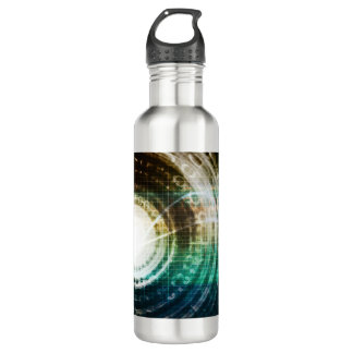 Futuristic Technology Portal with Digital 710 Ml Water Bottle