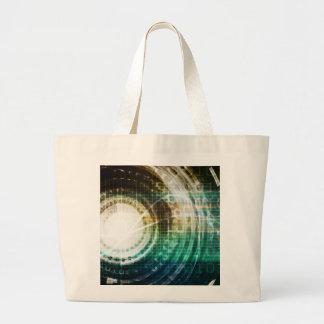 Futuristic Technology Portal with Digital Large Tote Bag