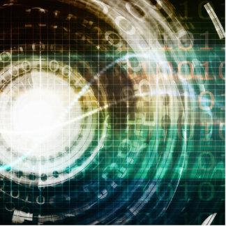 Futuristic Technology Portal with Digital Photo Sculpture Badge