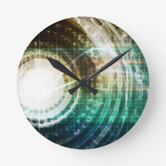 Futuristic Technology Portal with Digital Round Clock