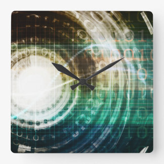 Futuristic Technology Portal with Digital Square Wall Clock