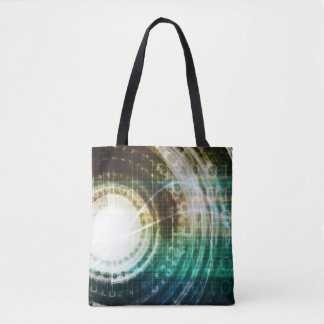 Futuristic Technology Portal with Digital Tote Bag
