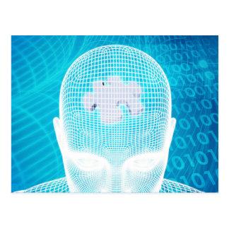 Futuristic Technology with Human Brain Chip Postcard