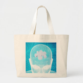 Futuristic Technology with Human Brain Chip Soluti Large Tote Bag