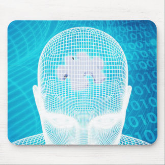 Futuristic Technology with Human Brain Chip Soluti Mouse Pad