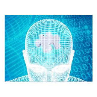 Futuristic Technology with Human Brain Chip Soluti Postcard