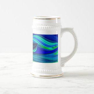 futuristically, abstractly in green, blue and purp beer stein