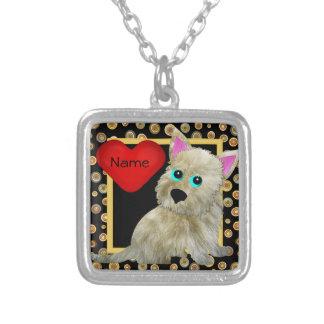 Fuzz Dog Necklace Square Pendant Necklace