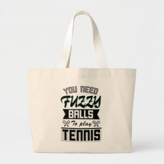 FUZZY BALLS for TENNIS (Blk) Large Tote Bag