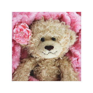 FUZZY BEAR IN A PINK FUZZY BLANKET CANVAS PRINT