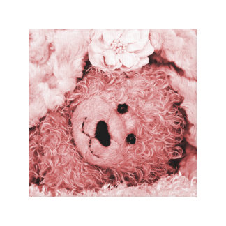 FUZZY BEAR UNDER A FUZZY BLANKET GALLERY WRAPPED CANVAS
