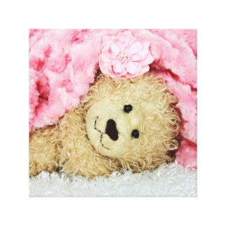 FUZZY BEAR UNDER A PINK FUZZY BLANKET GALLERY WRAP CANVAS
