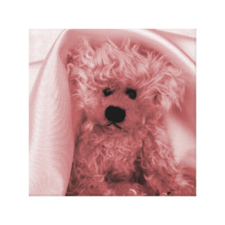 FUZZY BEAR UNDER A SATIN BLANKET GALLERY WRAPPED CANVAS