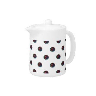 Fuzzy Blue Dots Teapot