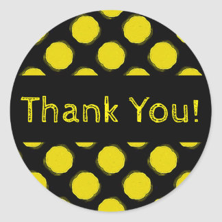 Fuzzy Bright Yellow and Black Polka Dots Thank You Classic Round Sticker