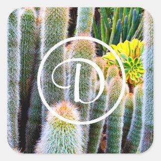 Fuzzy green and orange cacti photo custom monogram square sticker