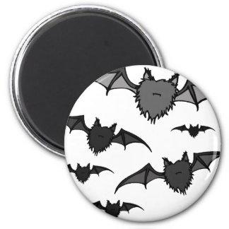 Fuzzy Grey Bats 6 Cm Round Magnet