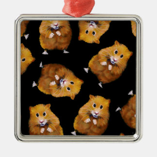 Fuzzy Hamster Pattern on Black, Original Art Silver-Colored Square Decoration