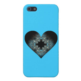 Fuzzy Looking Turquoise Fractal Heart Cover For iPhone 5/5S