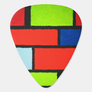 Fuzzy Mondrian Abstract - Orange Guitar Pick