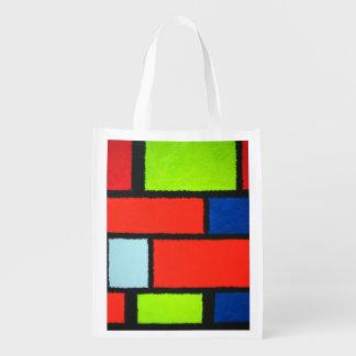 Fuzzy Mondrian Orange Green Abstract Reusable Grocery Bag