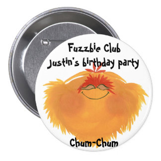 Fuzzy Monster Cartoon Character Pinback Button