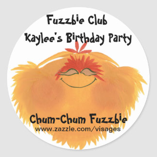 Fuzzy Monster Cartoon Character Round Sticker