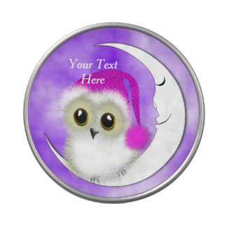 Fuzzy Night Owl Sleepover Personalized Candy Tins