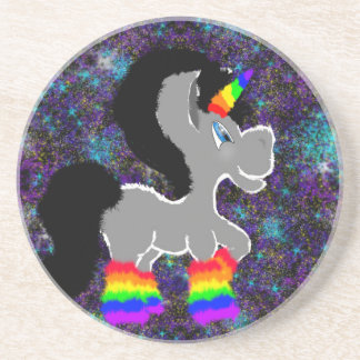 Fuzzy rainbow space unicorn beverage coaster