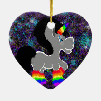 Fuzzy rainbow space unicorn ceramic heart decoration