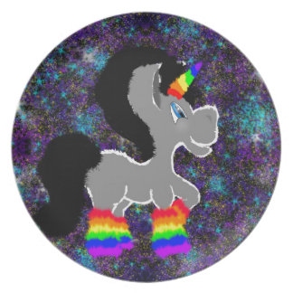 Fuzzy rainbow space unicorn plate