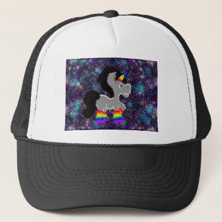 Fuzzy rainbow space unicorn trucker hat