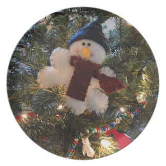 Fuzzy Snowman Dinner Plate