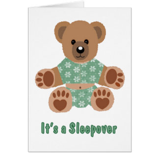 Fuzzy Teddy Bear Green Flowered Pajamas Sleepover Card