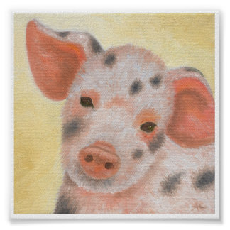 Fuzzy the Piglet art poster print
