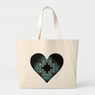 Fuzzy Turquoise Fractal Heart Canvas Bags