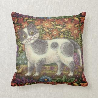 Fuzzy Wuzzy Kitten FOLK ART CAT THROW PILLOW