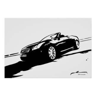 G37 Convertible black and white Poster