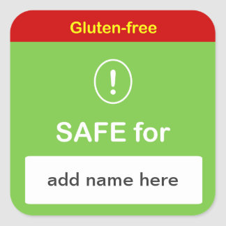 g4 - SAFE FOOD LABEL w/ Custom Name ~ GLUTEN-FREE.