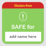 g4 - SAFE FOOD LABEL w/ Custom Name ~ GLUTEN-FREE. Square Stickers