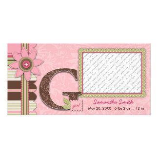 G Girl Baby Announcement Customised Photo Card