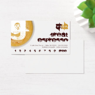 G - Initial Letter Foamy Coffee Cup Loyalty Punch Business Card
