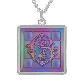 G Initial Monogram Blue Rain Glass Necklaces Personalized Necklace