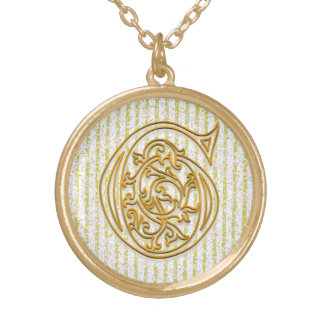 "G Initial Monogram ""Gold Pin Stripe"" Necklace"