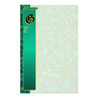 "G Initial ""Teal Bubbles"" Initial Fine Lined Stationery Paper"