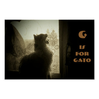 G is for Gato kitty Poster
