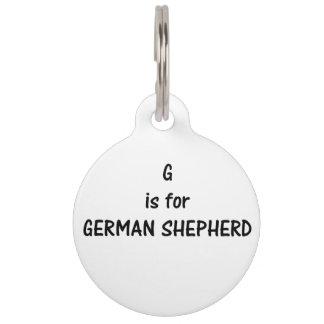 g is for german shepherd pet name tag
