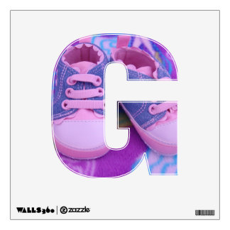 G is for Girl wall decals Pink Baby Shoes
