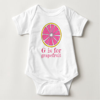 G is for Grapefruit Pink Yellow Citrus Fruit Baby Bodysuit